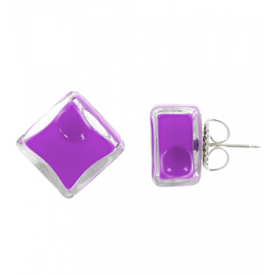 Stud earrings - Carré Milk Purple
