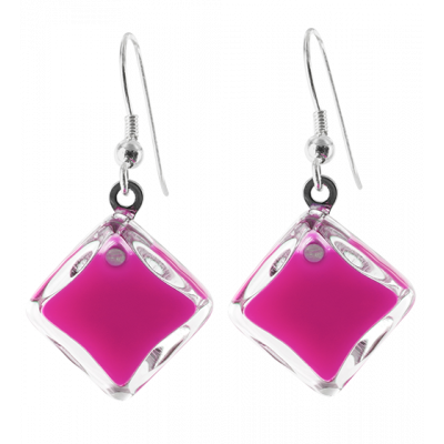 Hook earrings - Carré Milk Fuchsia