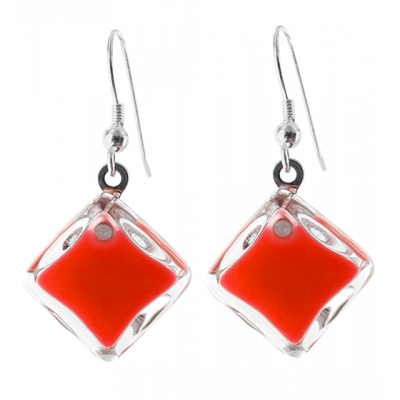 Carre Milk - Hook earrings Light red