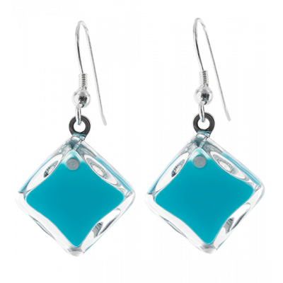 Carre Milk - Hook earrings Turquoise