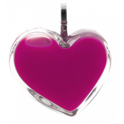 Necklace - Coeur Medium Milk Fuchsia