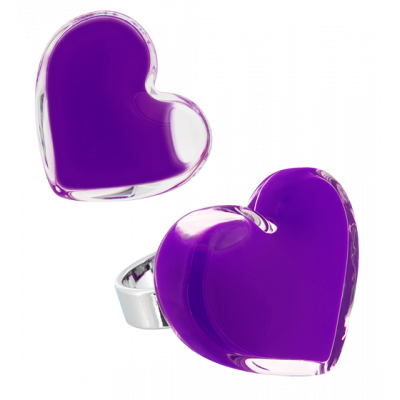 Cœur Medium Milk - Glass ring Dark purple
