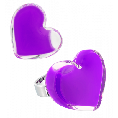 Coeur Medium Milk - Bague en verre Violet