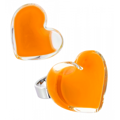 Coeur Medium Milk - Bague en verre Orange