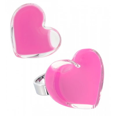 Coeur Medium Milk - Bague en verre Rose