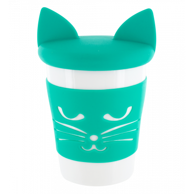 Mug and lid - Trophy Mug Turquoise cat