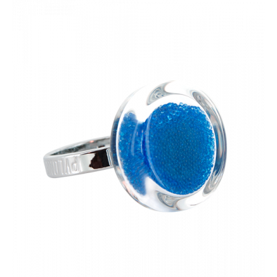 Glass ring - Cachou Nano Billes Royal blue