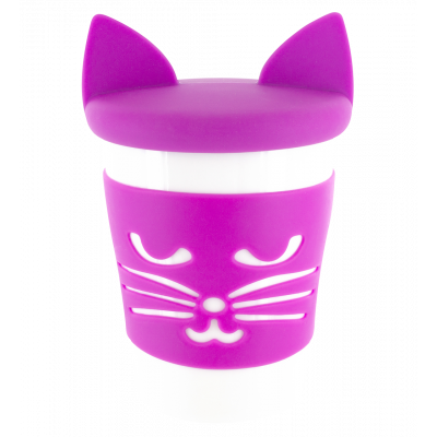 Mug and lid - Trophy Mug Purple cat