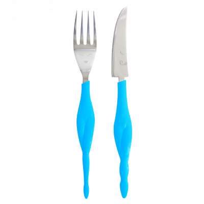 Fusion food - set of 2 knives and forks for adult Blue