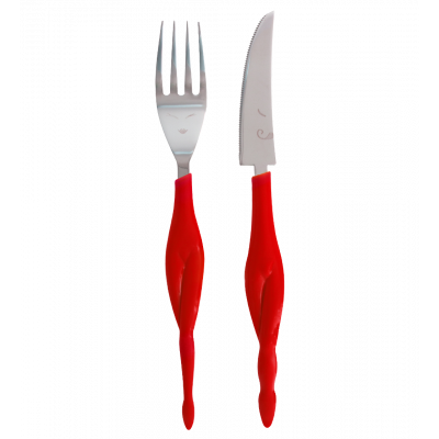 Fusion food - set of 2 knives and forks for adult Red