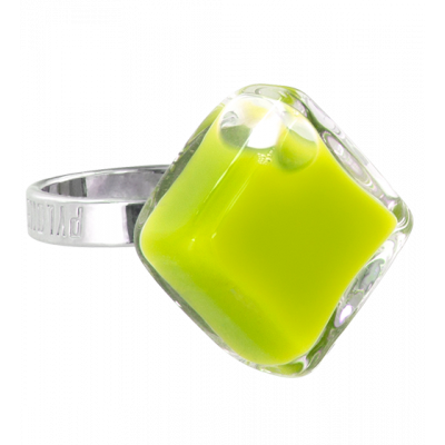 Glass ring - Losange Nano Milk Light Green