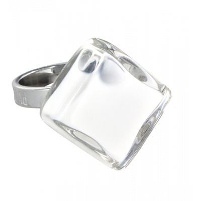 Glass ring - Losange Nano Milk White
