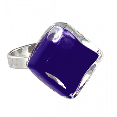 Glass ring - Losange Nano Milk Dark Blue