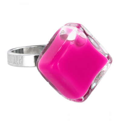 Glass ring - Losange Nano Milk Fuchsia