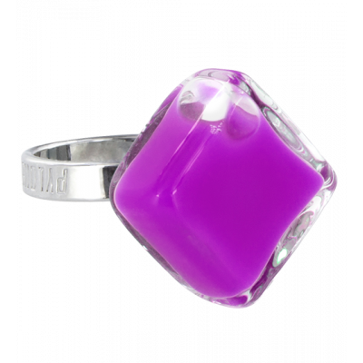Glass ring - Losange Nano Milk Purple