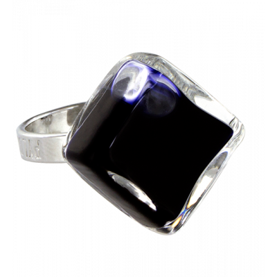 Glass ring - Losange Nano Milk Black