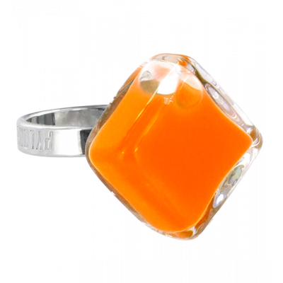 Losange Nano Milk - Bague en verre Orange