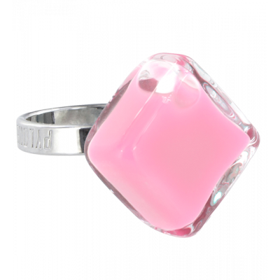 Losange Nano Milk - Bague en verre Bubble Gum