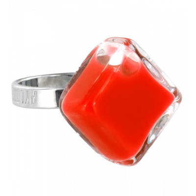 Glass ring - Losange Nano Milk Light red