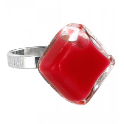 Glass ring - Losange Nano Milk Dark red