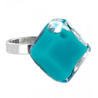 Glass ring - Losange Nano Milk Turquoise