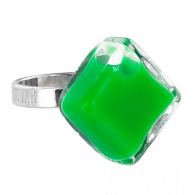 Glass ring - Losange Nano Milk Dark green