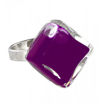 Glass ring - Losange Nano Milk Dark purple