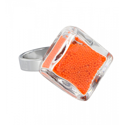 Glasring - Losange Nano Billes Orange