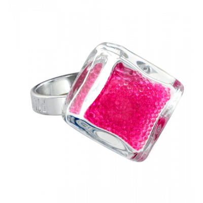Losange nano billes - Glass ring Fuchsia