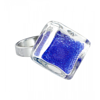 Losange nano billes - Glass ring Dark Blue