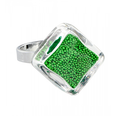 Losange nano billes - Glass ring Green