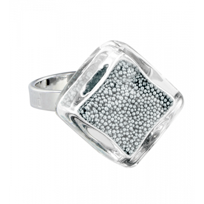 Losange nano billes - Glass ring Silver