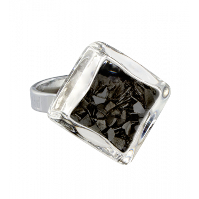 Losange Nano Paillettes - Glass ring Black