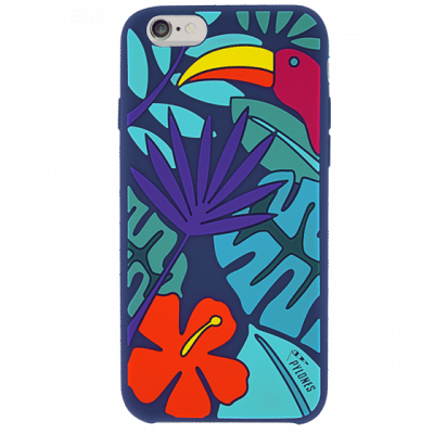 Coque souple pour iPhone 6 -Tropical Jungle Bleu