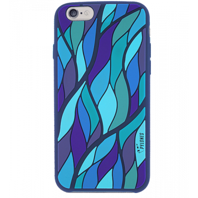 Tropical leaf - Cover morbida per iPhone 6 Blu