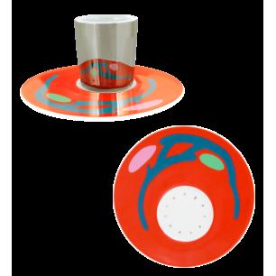 Café Allongé – Tasse und Untertasse Rot