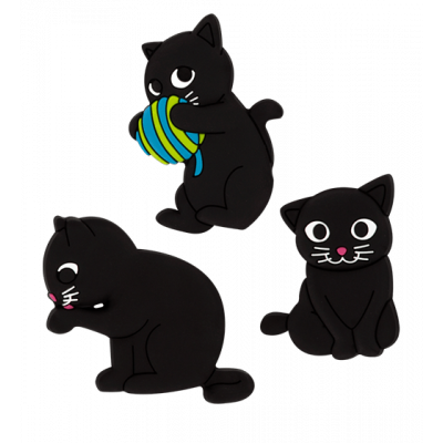 Happy Cat - Set di 3 calamite Blu