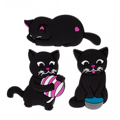 Happy Cat - Set di 3 calamite Rosa