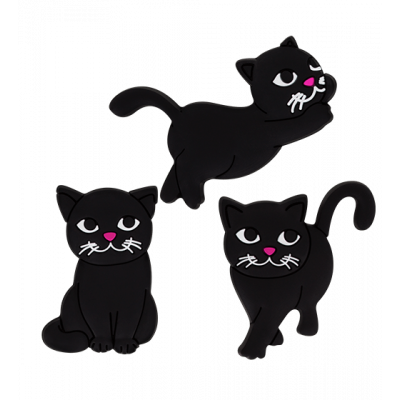 Set of 3 magnets - Happy Black cat