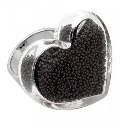 Coeur Medium Billes - Anello in vetro Nero