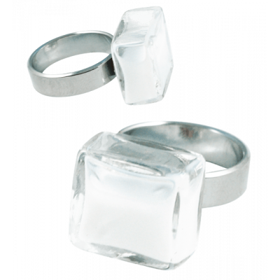 Carre Mini Milk - Glass ring White