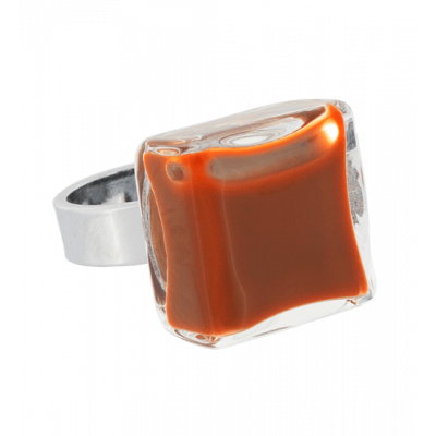 Carre Mini Milk - Glass ring Rust