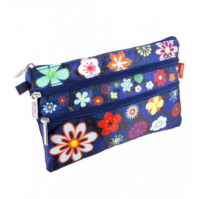 3 zip pouch - Zip It Blue Flower