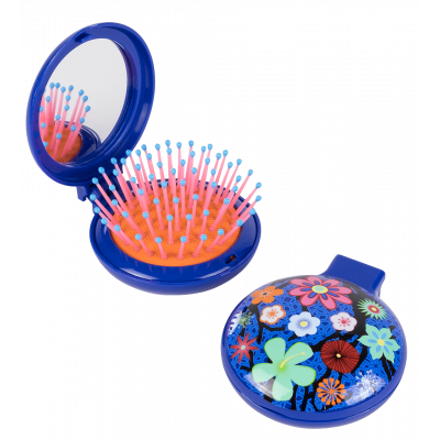 Lady Retro - 2 in 1 hairbrush and mirror Blue Flower