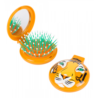 Lady Retro - 2 in 1 hairbrush and mirror Tiger