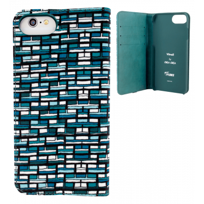 Flap cover/wallet case for iPhone 6, 6S, 7 - Iwallet 2 Vitrail Bleu