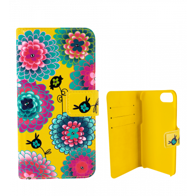 Flap cover/wallet case for iPhone 5/5S/5E - I Wallet Dahlia