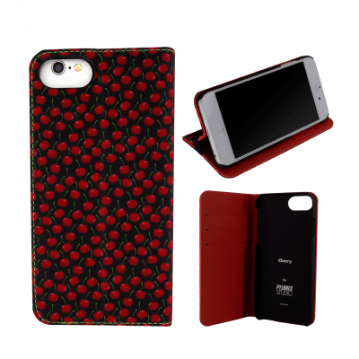 Flap cover/wallet case for iPhone 5/5S/5E - I Wallet Cherry