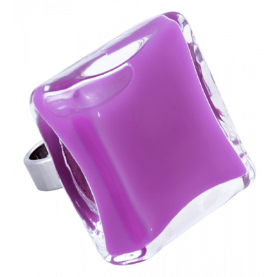 Carre Giga Milk - Glass ring Lilas