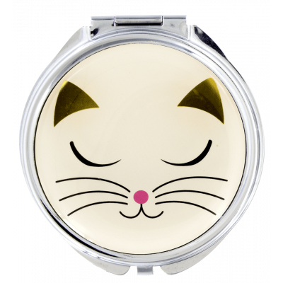 Pocket mirror - Lady Look White Cat